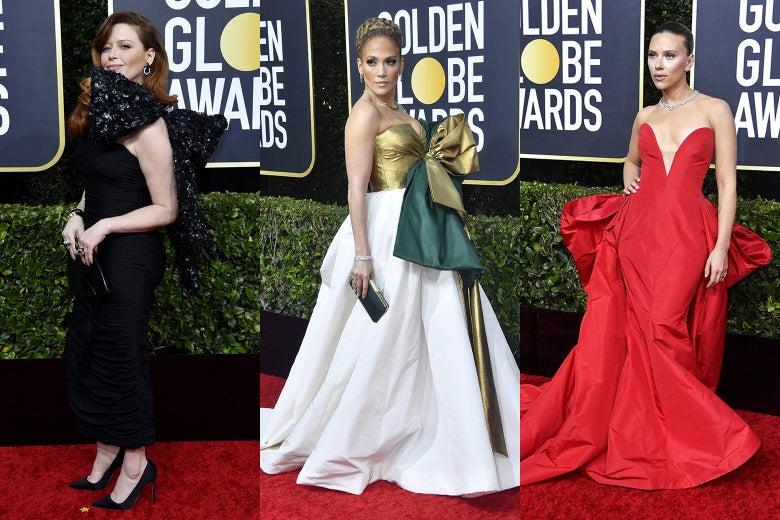 Natasha Lyonne, Jennifer Lopez, and Scarlett Johansson on the Golden Globes red carpet.