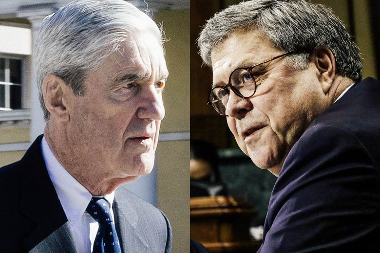 Composite illustration of Robert Mueller and William Barr both looking toward each other.