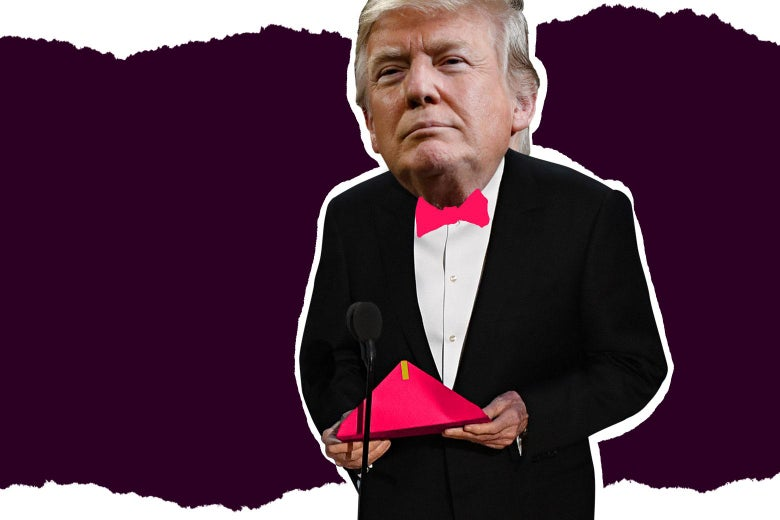 An illustration of Donald Trump wearing a bow tie and reading an award from an envelope.