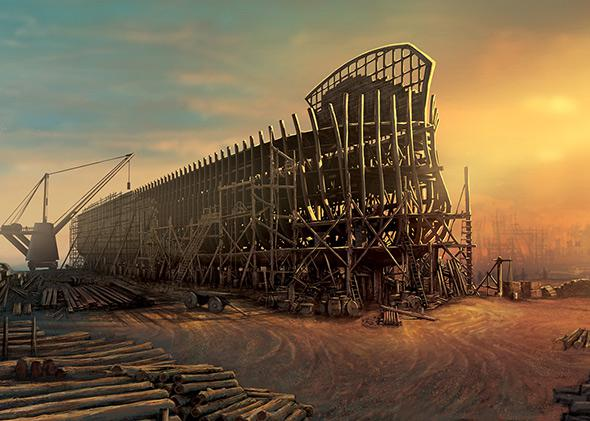 A rendering of what construction of the Ark Encounter theme park will look like.