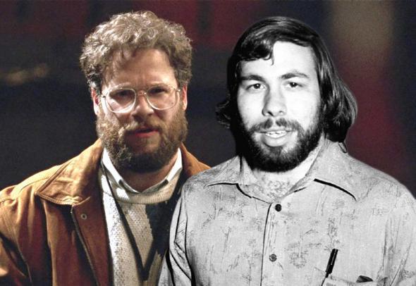 Seth Rogen in Steve Jobs (2015), and Steve Wozniak in April 1977