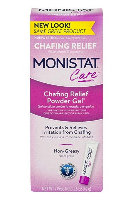 Monistat Care Chafing Relief Powder Gel.
