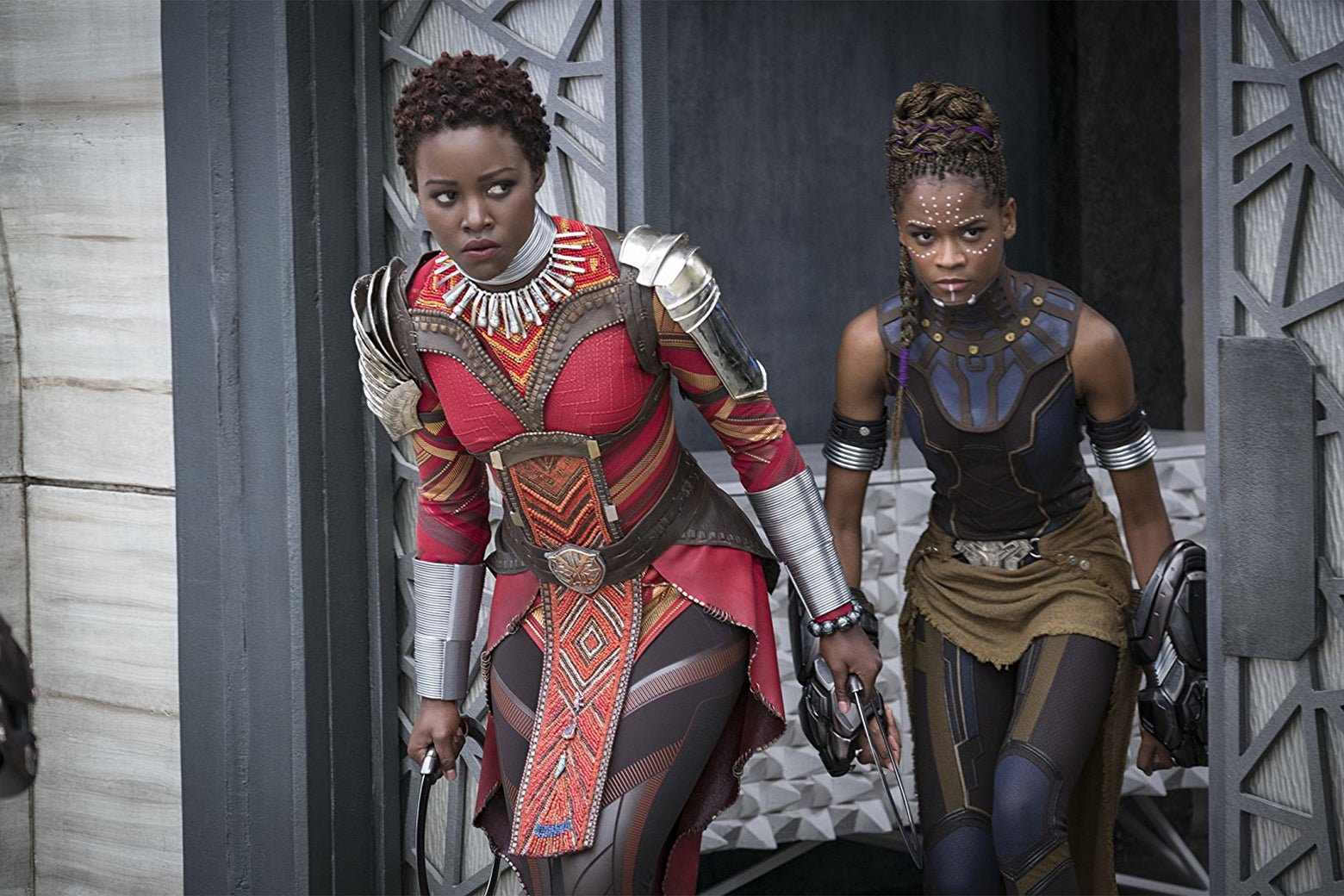 Lupita Nyong'o and Letitia Wright in Black Panther.