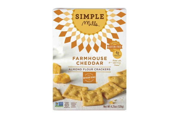 Simple Mills Farmhouse Cheddar Snack Crackers.