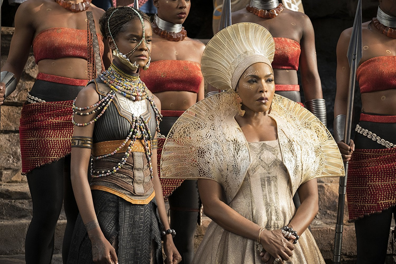 Letitia Wright and Angela Bassett in Black Panther.