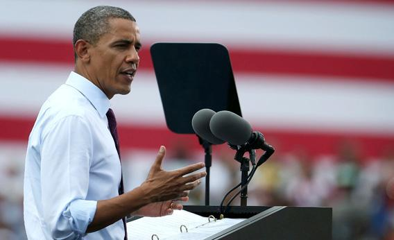 U.S. President Barack Obama speaks during a campaign rally at Norfolk State University.