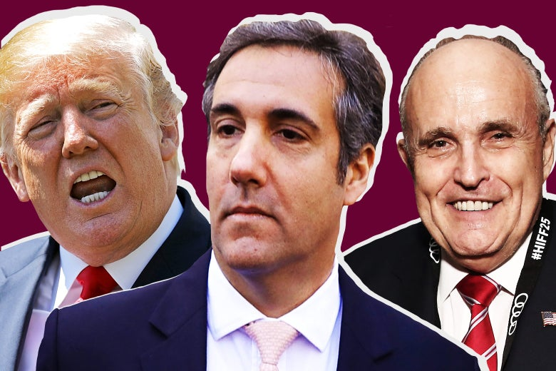 President Donald Trump, his longtime personal lawyer Michael Cohen, and new lawyer Rudy Giuliani.