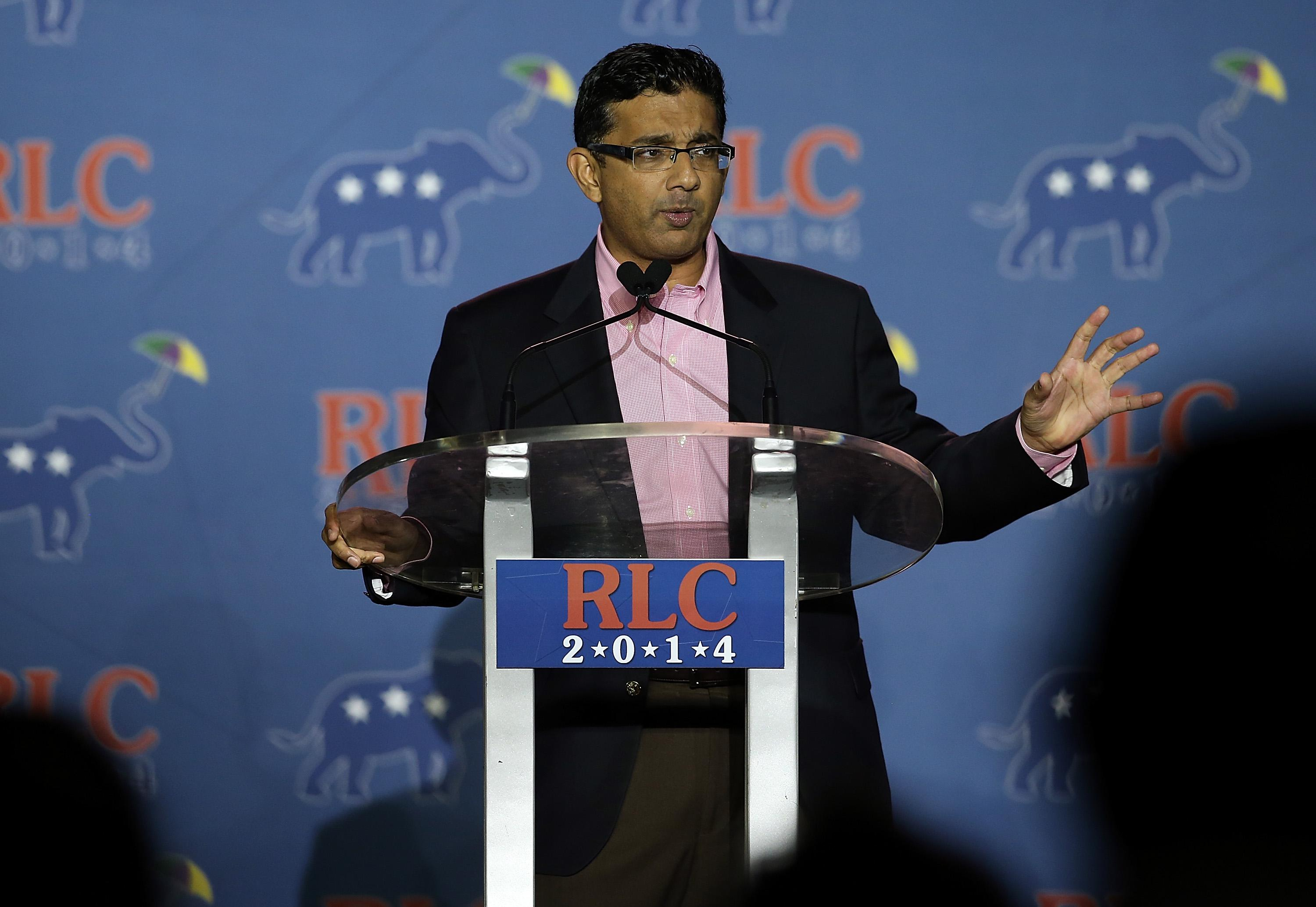 NEW ORLEANS, LA - MAY 31:  Conservative filmmaker and author Dinesh D'Souza speaks during the final day of the 2014 Republican Leadership Conference on May 31, 2014 in New Orleans, Louisiana.  Some of the biggest names in the Republican Party made appearances at the conference, which hosts 1,500 delegates from across the country through May 31.  (Photo by Justin Sullivan/Getty Images)