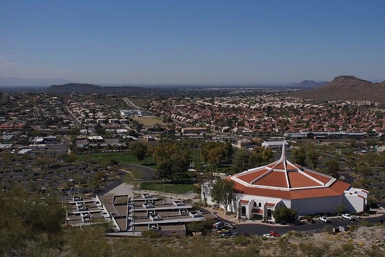 An aerial shot of Dream City Church