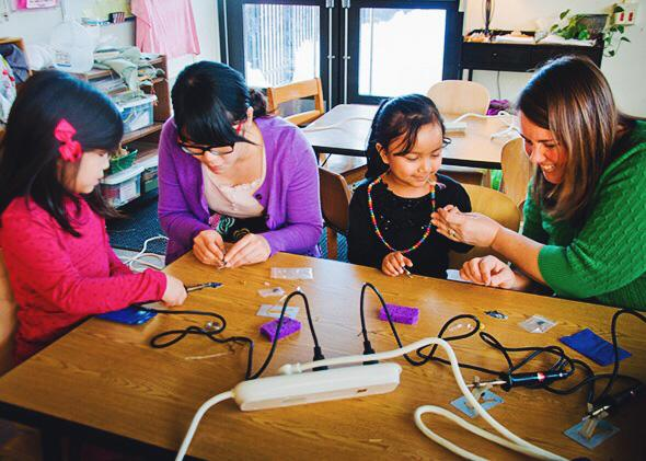 Many educators want to inject coding and robotics into all sorts of courses, from science to art to English. Above, children learn how to solder with Blinky Robot Badges at Univeristy Primary School in Champaign, Illinois, in 2014