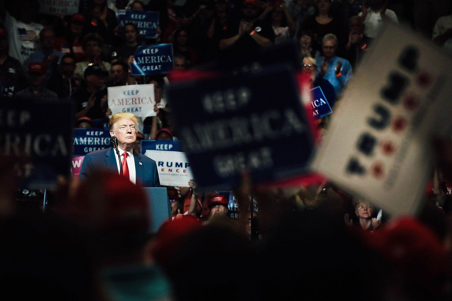 President Donald Trump speaks to supporters at a rally on Thursday in Elkhart, Indiana.