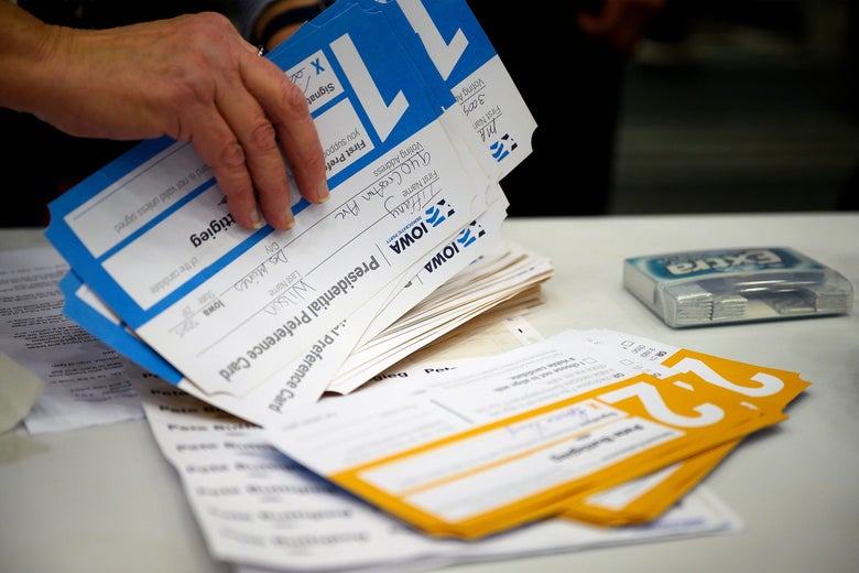 Paper ballots in envelopes from the 2020 Iowa caucuses