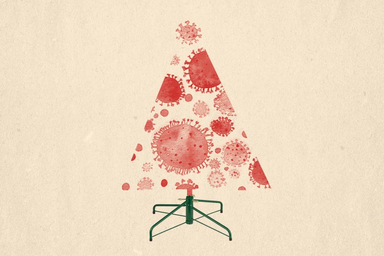An illustration of a Christmas tree with the tree made up of coronavirus molecules.