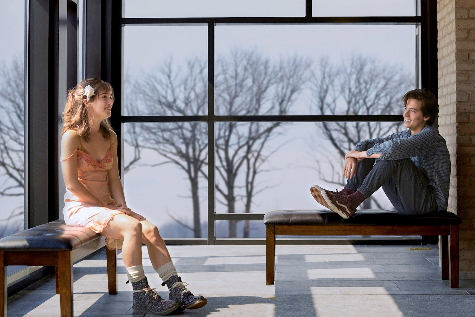 Haley Lu Richardson and Cole Sprouse in Five Feet Apart.