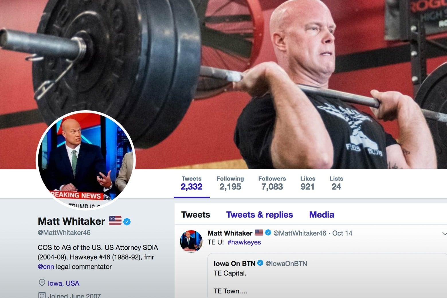Screenshot of Matt Whitaker's Twitter account.