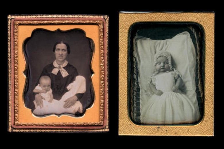 Victorian death photos: A mother holds two children at left, a baby is pictured at right.