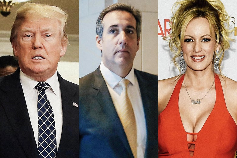 Donald Trump, attorney Michael Cohen, and adult film actress Stormy Daniels.