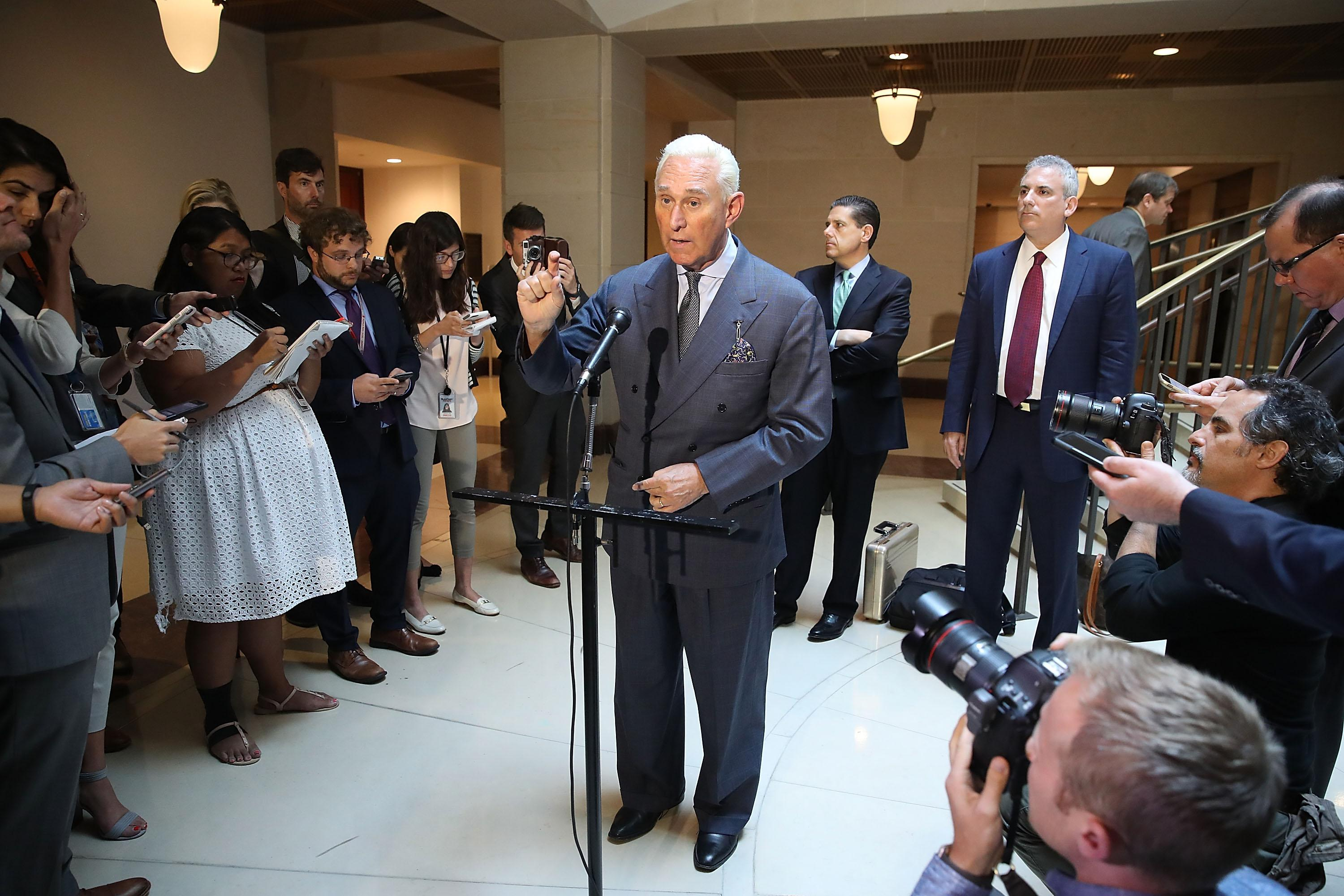 Roger Stone speaking in the US Capitol to reporters