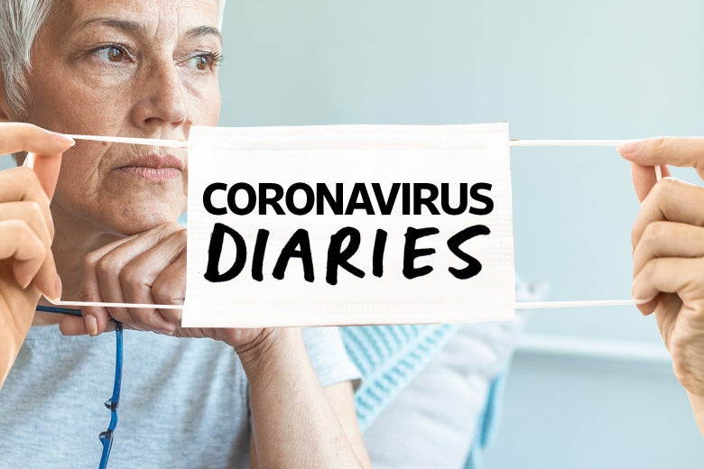 "An elderly woman stares off into the distance behind two hands holding a face mask that says ""Coronavirus Diaries."""