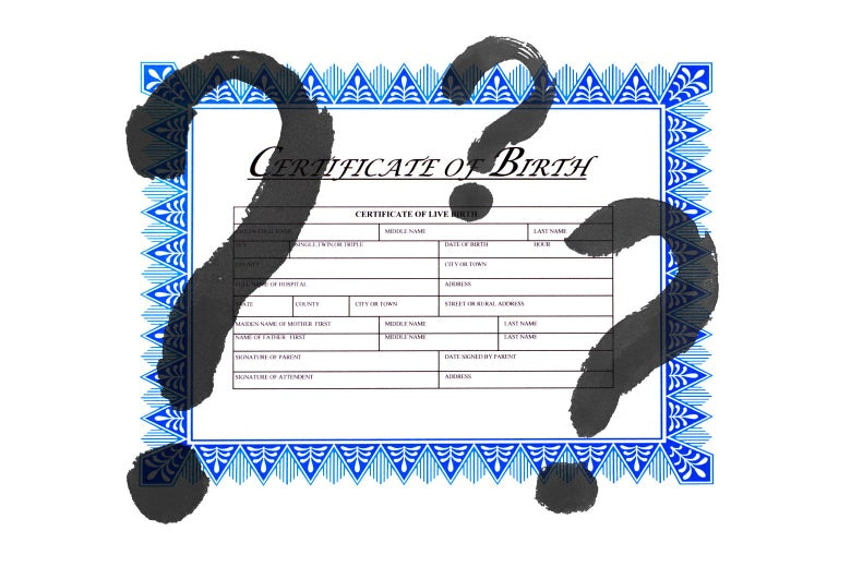 Photo illustration of a birth certificate with question marks superimposed.