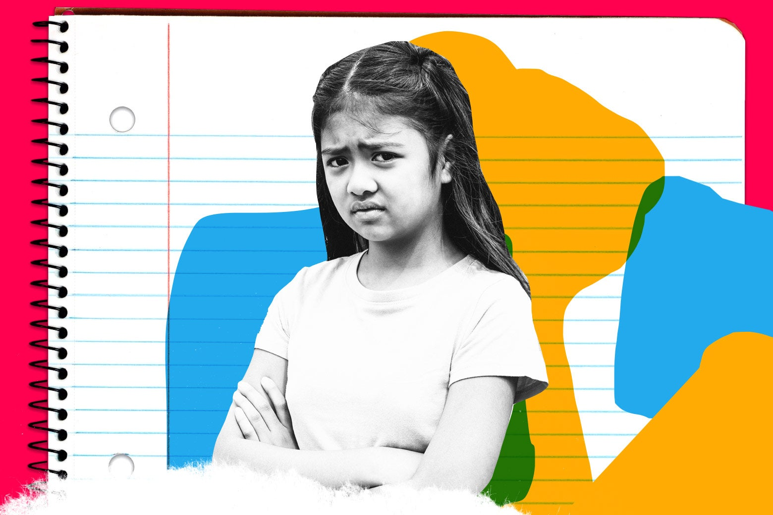 Photo illustration of a disgruntled-looking girl staring directly into the camera against a background of lined notebook paper.