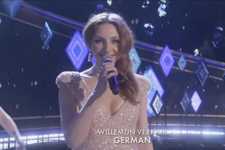 Willemijn Verkaik sings from Frozen 2 in German at the Oscars.
