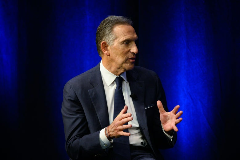 Howard Schultz speaking at a Q&A.