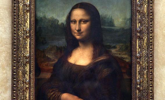 Portrait of Mona Lisa, painted by Leonardo da Vinci, Louvre Museum in Paris.