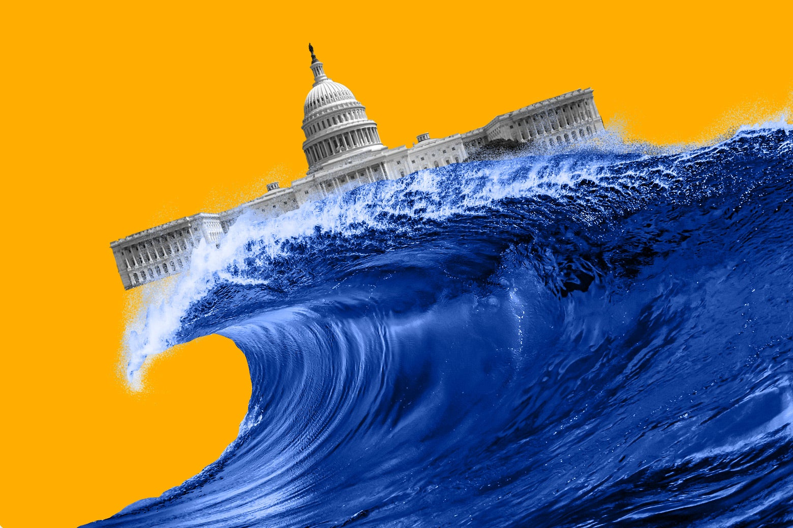 The Capitol afloat upon the crest of a blue wave