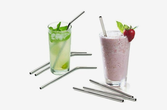 "Aoocan Extra Long 10.5"" Drinking Metal Straws being used in a beverage and a smoothie."