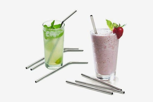 """Aoocan Extra Long 10.5"""" Drinking Metal Straws being used in a beverage and a smoothie."""