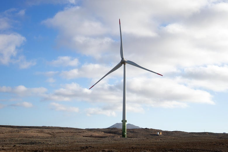 FUERTEVENTURA, SPAIN - MAY 08: A wind turbine operates in Corralejo on May 08, 2019 in Fuerteventura, Spain. Fuerteventura became known as the granary of the Canary islands but frequent droughts during the 18th and 19th centuries caused the collapse of the agriculture of the island. (Photo by Vittorio Zunino Celotto/Getty Images)
