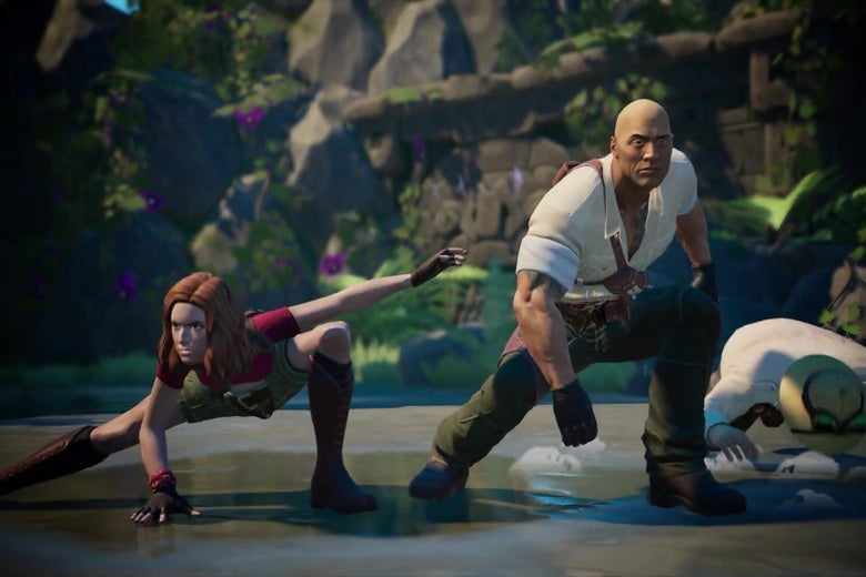 An image from the video game version of Jumanji, showing digital versions of Karen Gillen and The Rock.