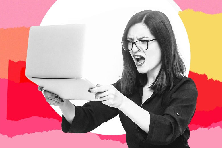 Angry woman reacting to an email.