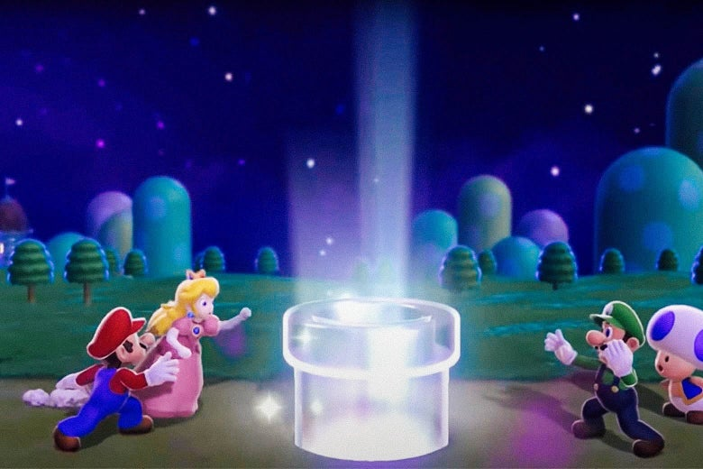 Mario, Peach, Luigi, and Toad stand around a hologram pipe.