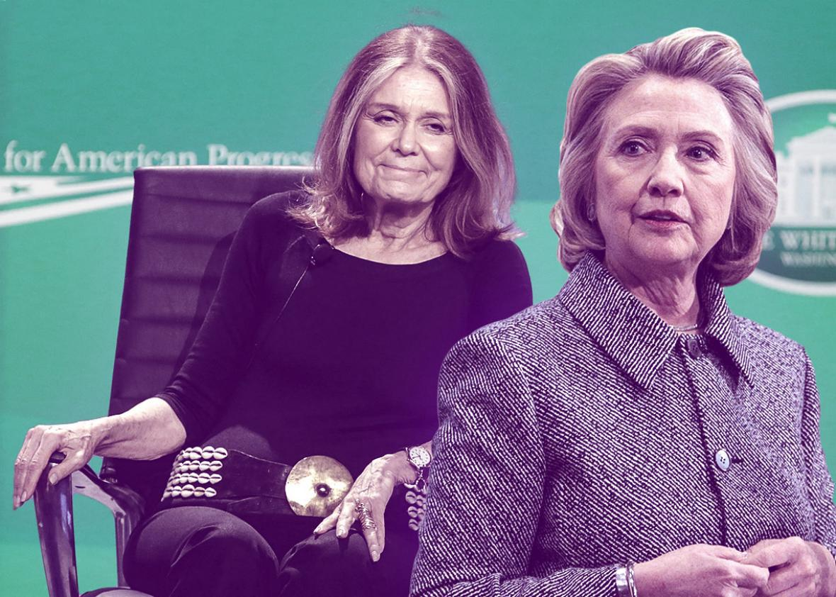 Gloria Steinem and Hillary Clinton.
