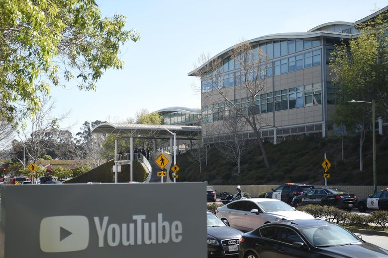 YouTube's headquarters with police cars out front on Tuesday.