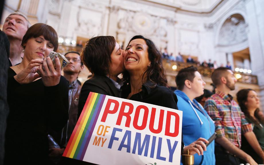 A couple celebrates upon hearing the U.S. Supreme Court's rulings on gay marriage in City Hall June 26, 2013 in San Francisco, United States.