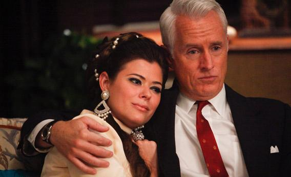 Jane and Roger in Mad Men.