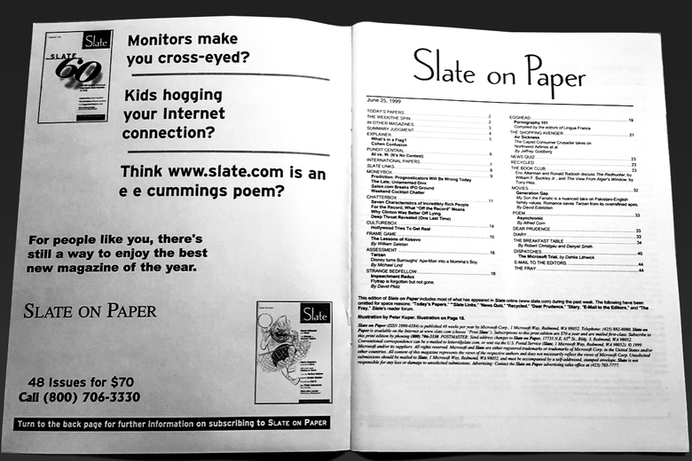 table of contents of Slate on Paper