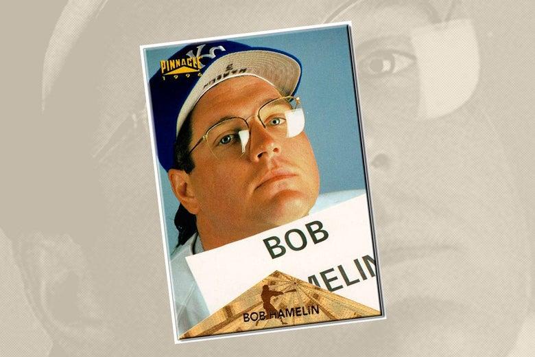 A Bob Hamelin baseball card from Pinnacle.