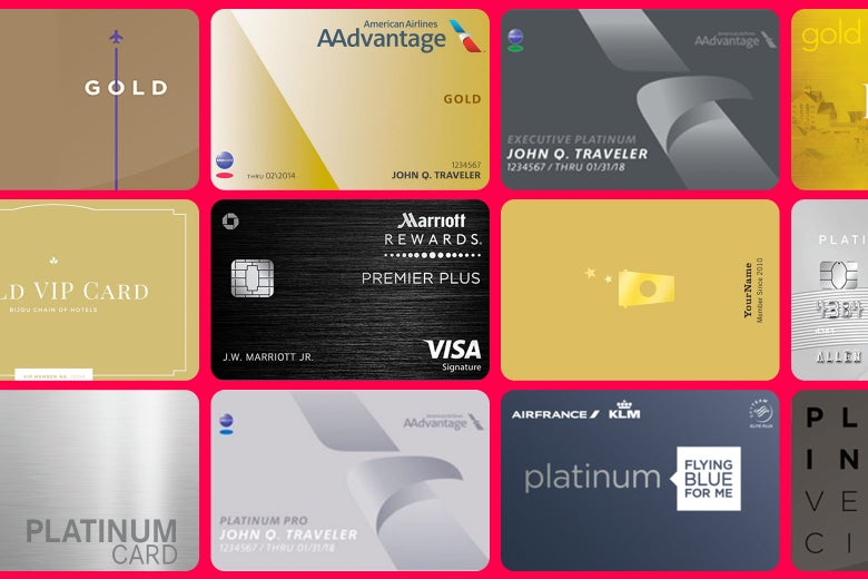 An array of gold and platinum rewards cards.