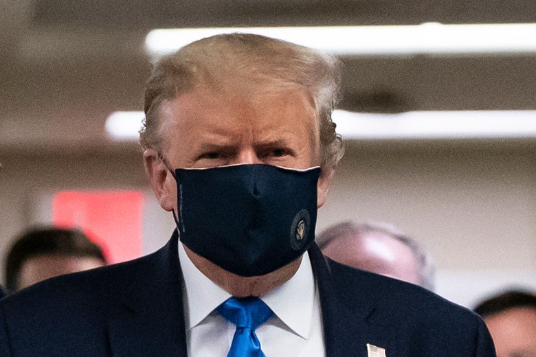 President Donald Trump wears a mask as he visits Walter Reed National Military Medical Center in Bethesda, Maryland on July 11, 2020.