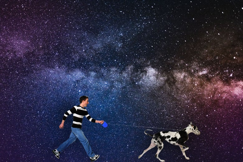 A man walking his dog in space.