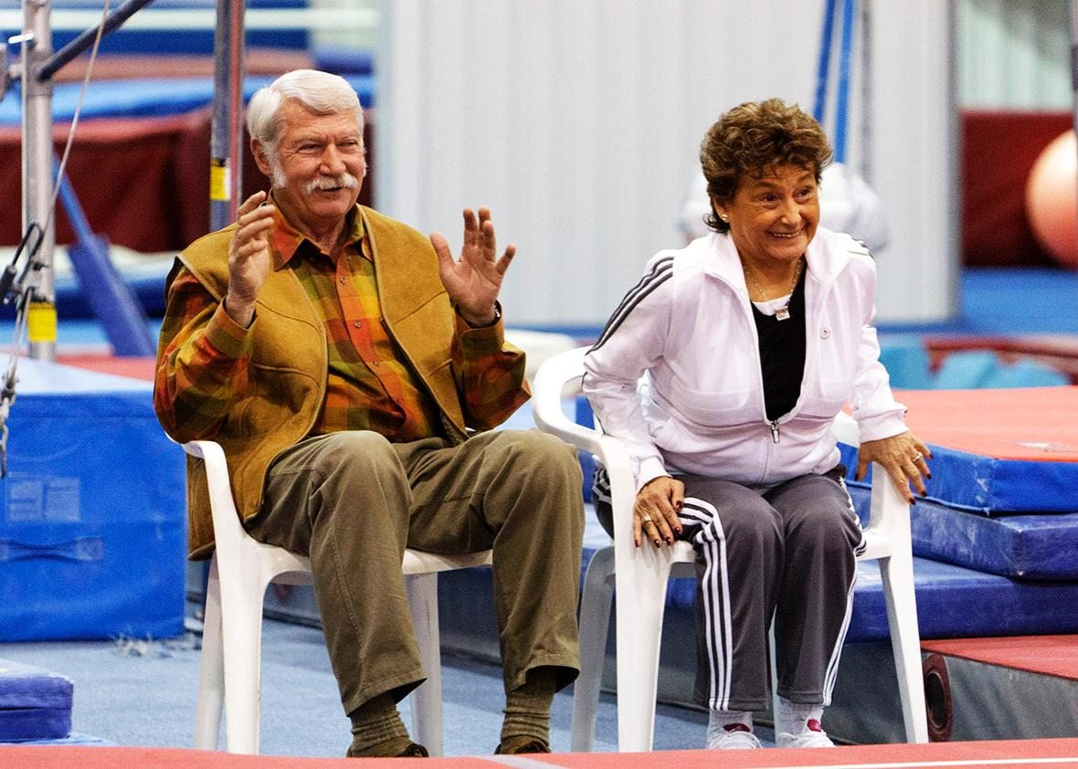 Martha & Bela Karolyi watch from the side as their facility Karolyi Ranch was named an official training site for USA Gymnastics on January 26, 2011 in Huntsville, Texas.