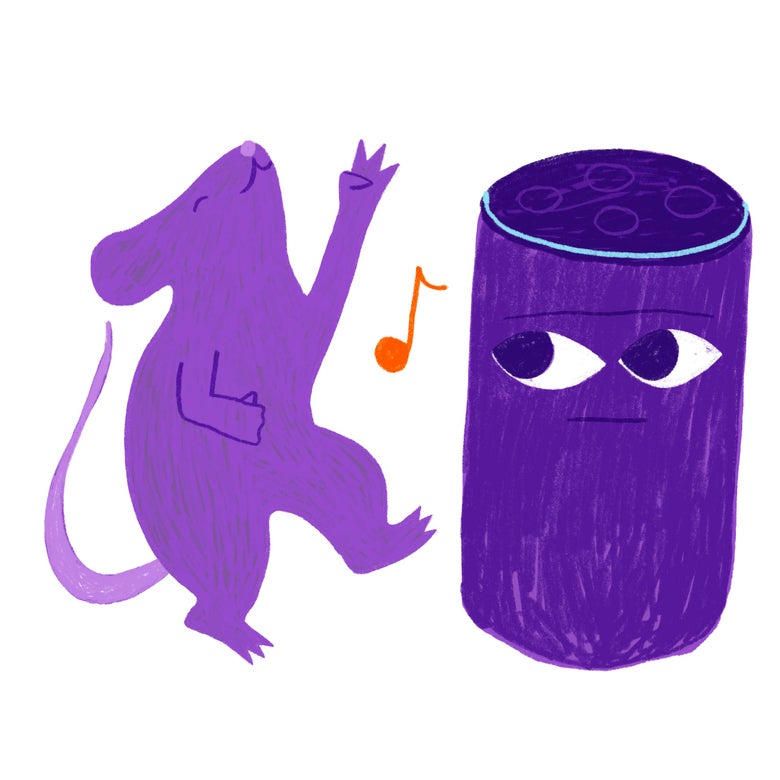 A purple rat plays air guitar while an Amazon Echo listens.