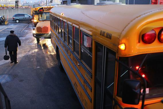 School buses and drivers at the Atlantic Express Transportation Corp. in Queens head back to work after the drivers and matrons suspended their January 16th strike on February 20, 2013 in New York City.