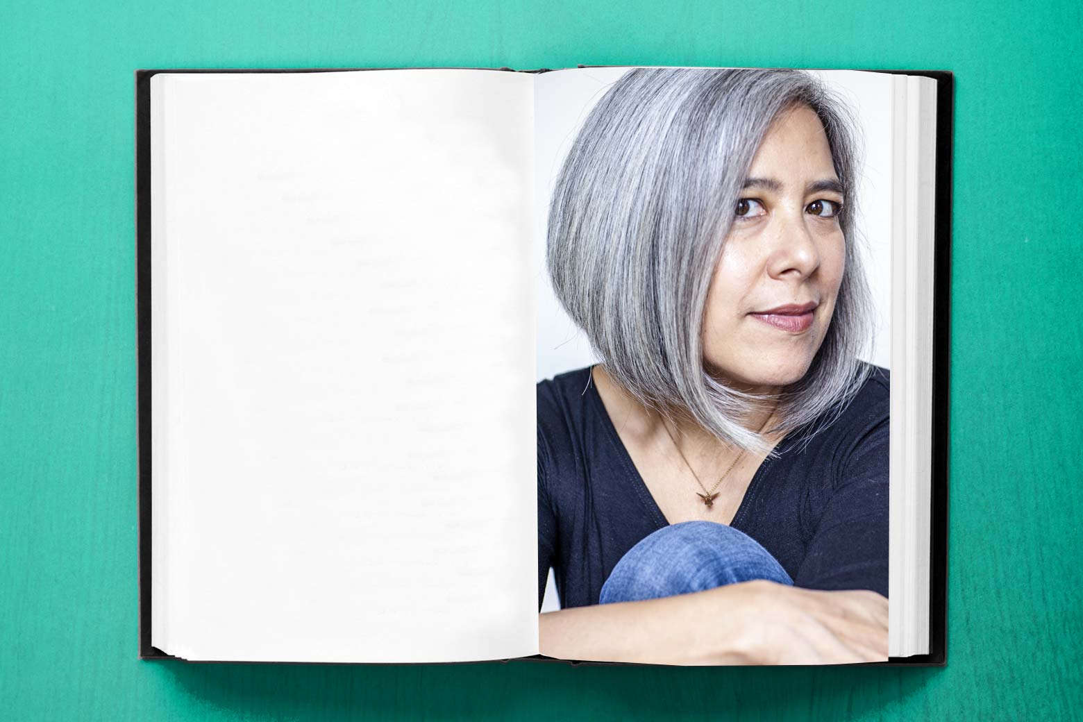 A book with its pages open featuring a photo of Susan Choi.