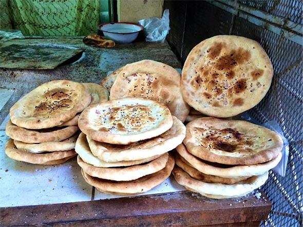 Homemade Uyghur naan on Abbas Zazoa Street in Nasr City, Cairo.