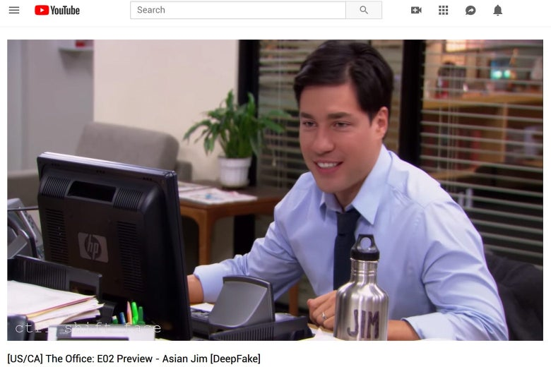 Still from The Office parody deepfake